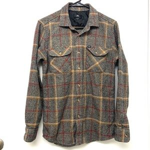 Obey Flannel Plaid Long Sleeve Buttondown Shirt S